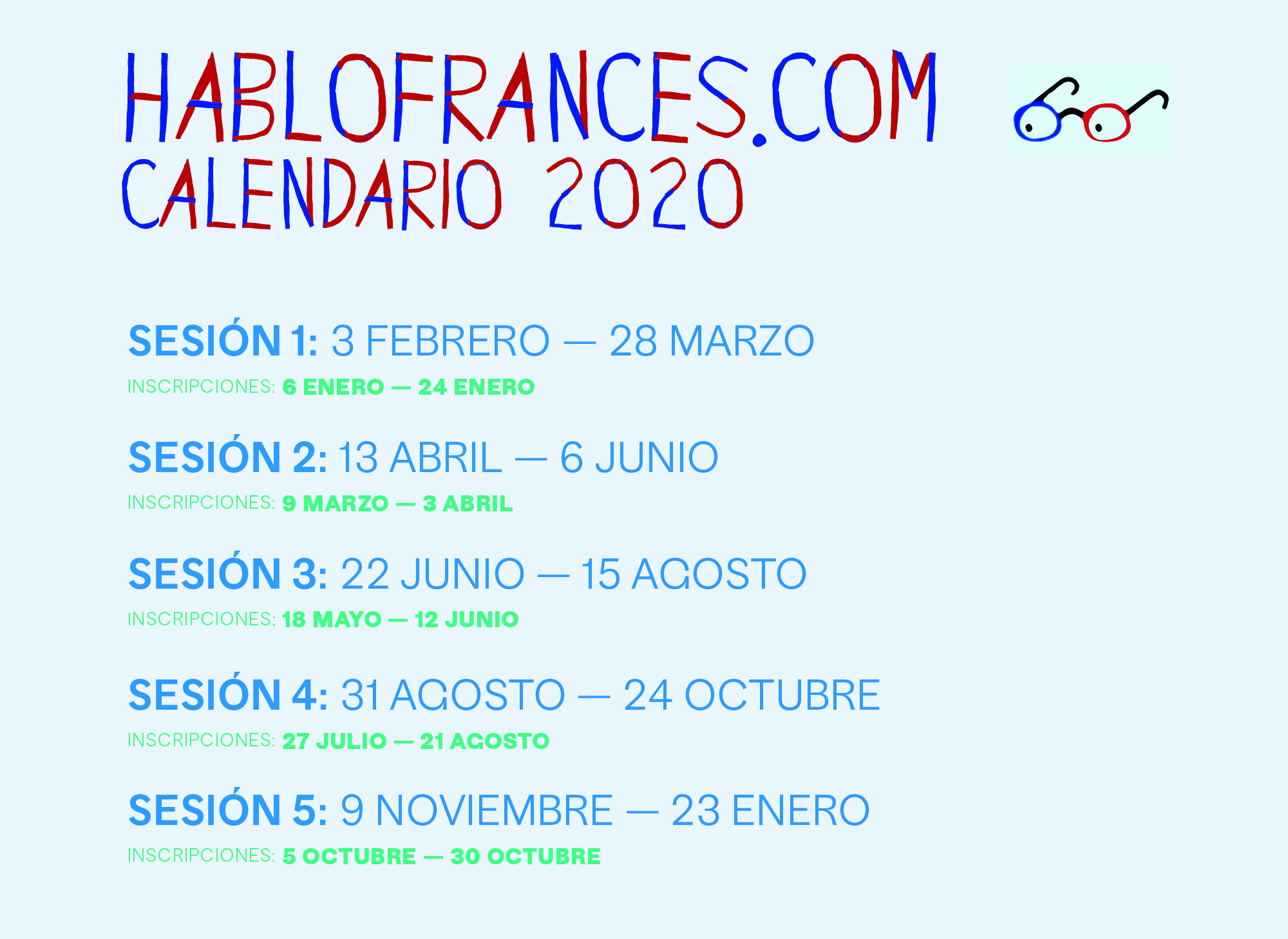Calendario Hablo Frances 2020 V1